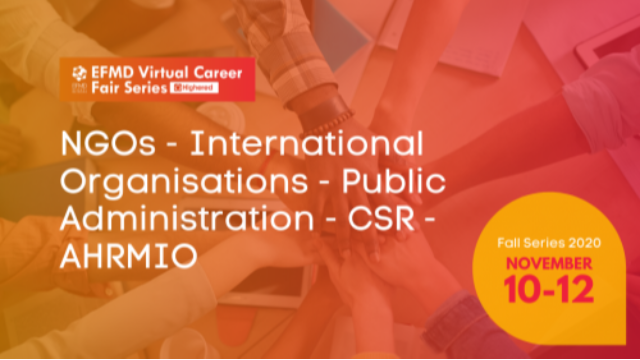 EFMD Virtual Career Fair - Day 3 : NGOs – International Organisations – Public Administration – CSR – AHRMIO